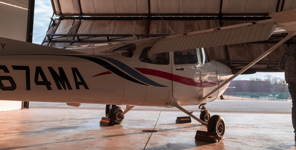 Cessna 172R tail number N674MA in hangar