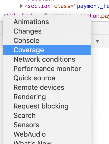 Chrome enable coverage menu