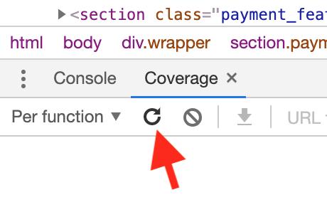 Chrome Coverage start instrumenting
